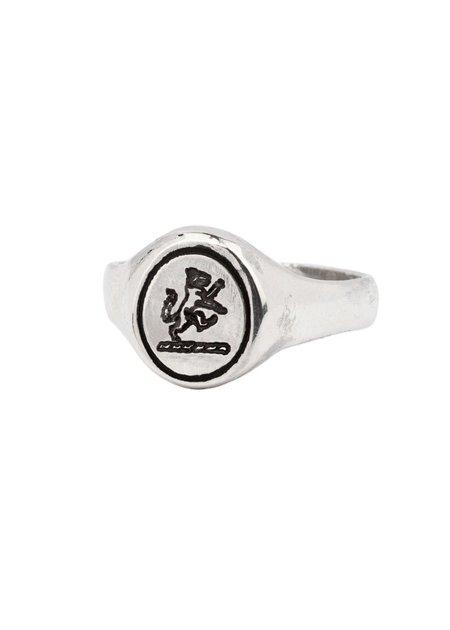 Pyrrha Wolf Oval Signet Ring - Sterling Silver