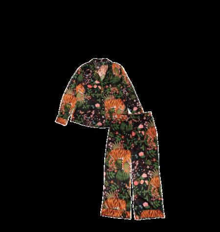 Karen Mabon Silk Wide Leg Pajama Set - Midnight Tigers