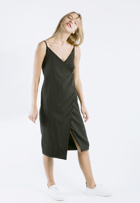 Outstanding Ordinary Note Wrap Dress - navy/white stripes