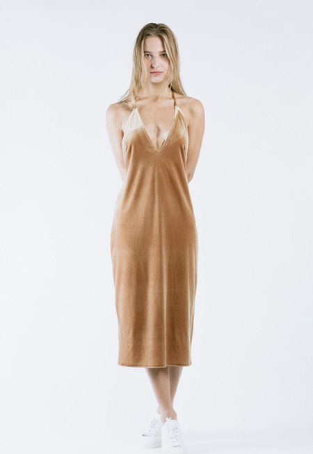 ROCKET X LUNCH Velvet Slip Dress in Camel