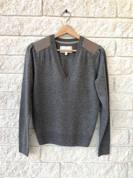 Brochu Walker Marcel Patch Vee Sweater - Charcoal Melange