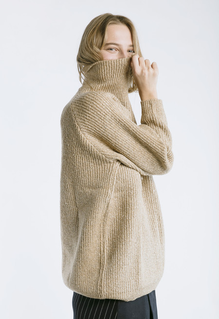 Callahan Heathered Mock Turtleneck - brown