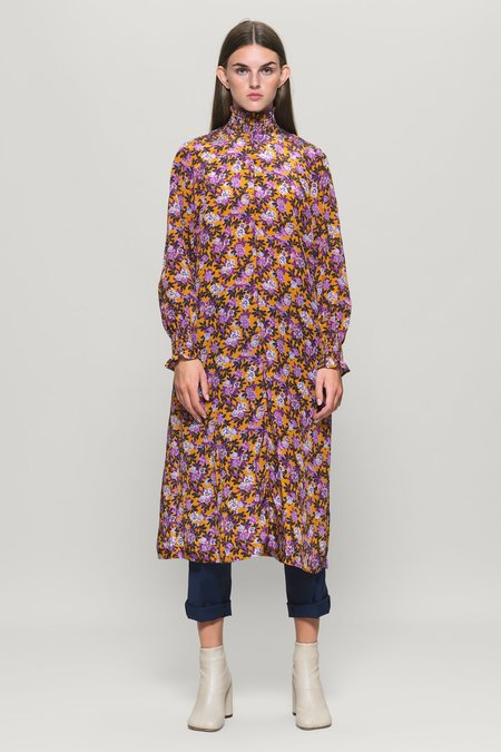 Baum und Pferdgarten Anamay Long Sleeve Midi Dress - Paris Flower Sunshine