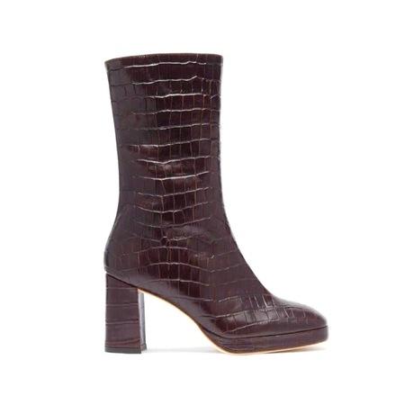 Miista Carlota Croc Boots - Mahogany