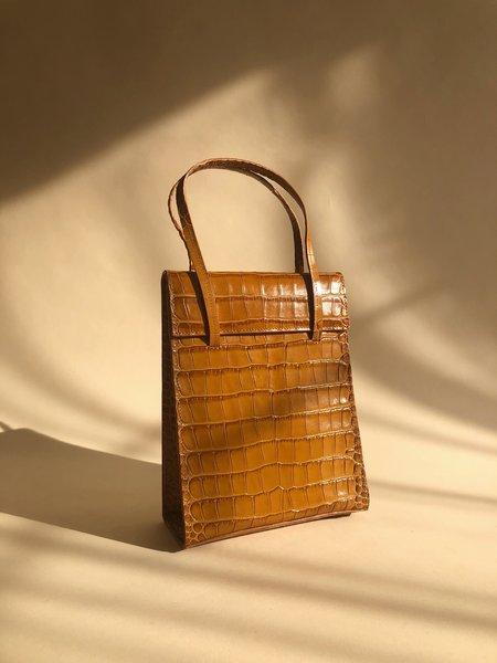 BLAME LILAC Frita Cognac Croc Bag - Brown