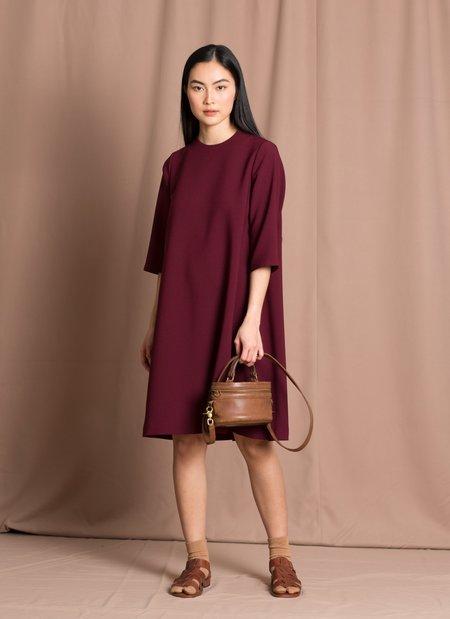 KAAREM Marya 3/4 Sleeve A-Line Dress - Burgundy