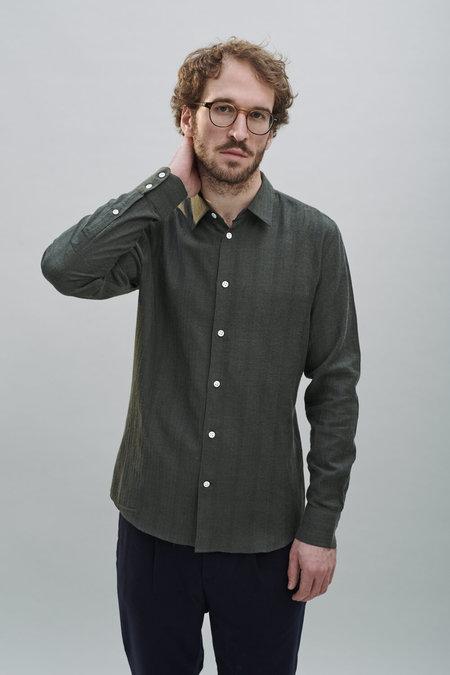 Delikatessen Fine Japanese Tonal Herringbone Stripe Shirt - Subtle Green
