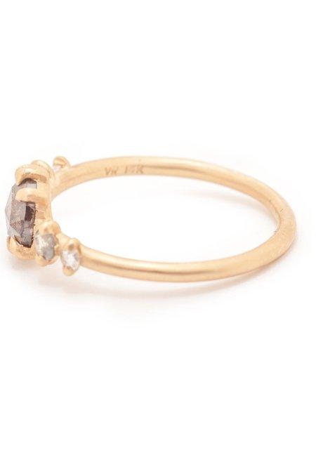 Valley Rose Grey Round Rose Cut Diamond 5 Stone Ring