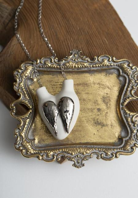 Studio Elica 7° Sky Platinum Glazed Porcelain Anatomical Heart Necklace