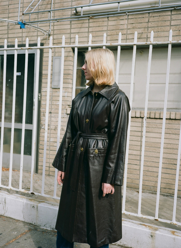 Narro Vintage Leather Trench Coat