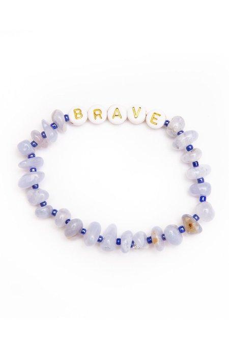 TBalance Brave Gold Lace Agate Crystal Healing Bracelet - Blue