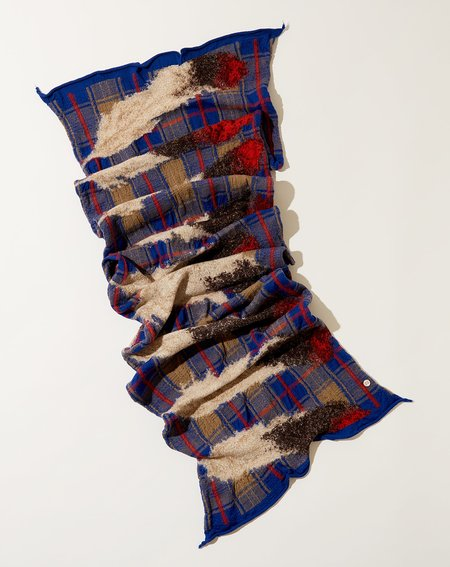 Kapital Feather Tartan Scarf - Blue