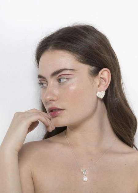Mirit Weinstock Petite Folded Heart & Pearl Pendant - Silver