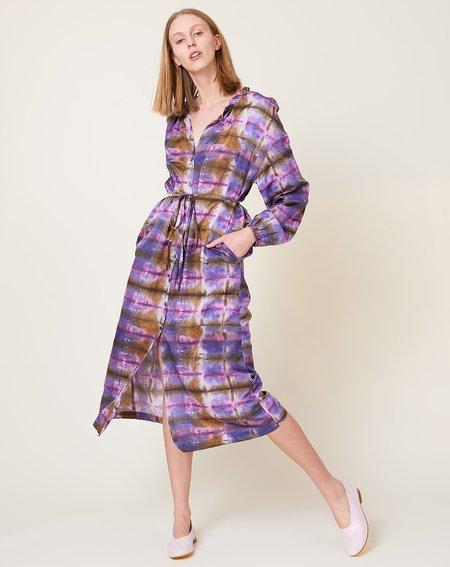 Raquel Allegra Wrap Dress - Plaid Tie Dye