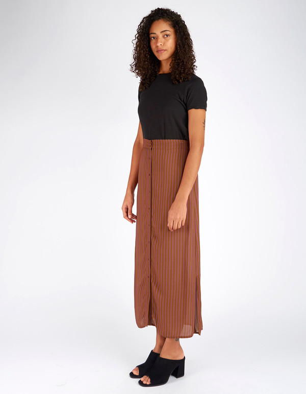 Ali Golden Button Down Skirt Copper Rust Stripe