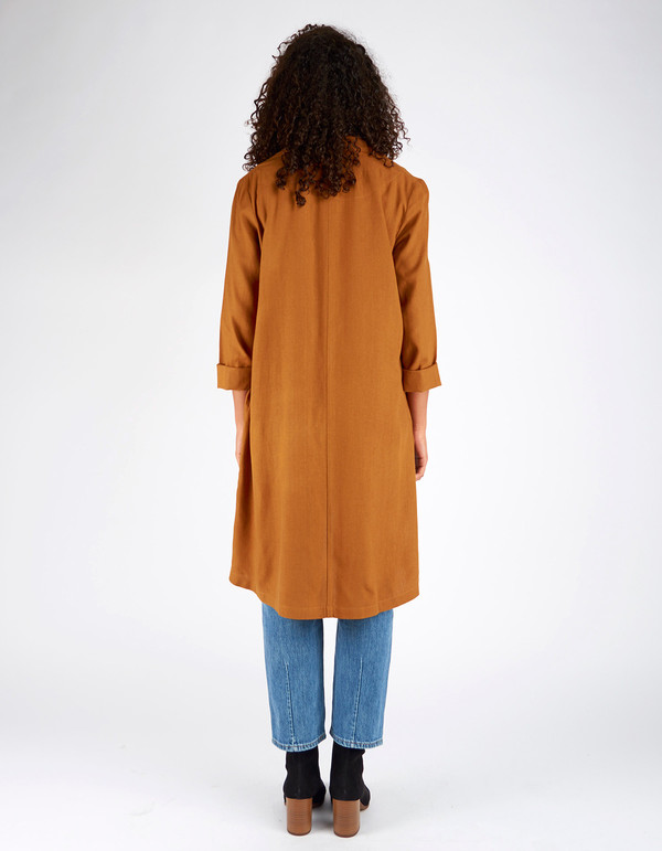 Ali Golden Raw Silk Notch Jacket Rust