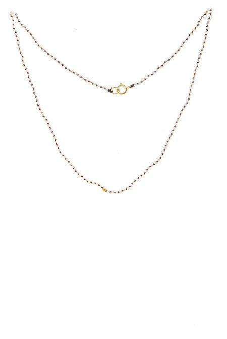 COVET #3 Knotted Necklace - brass/pearls
