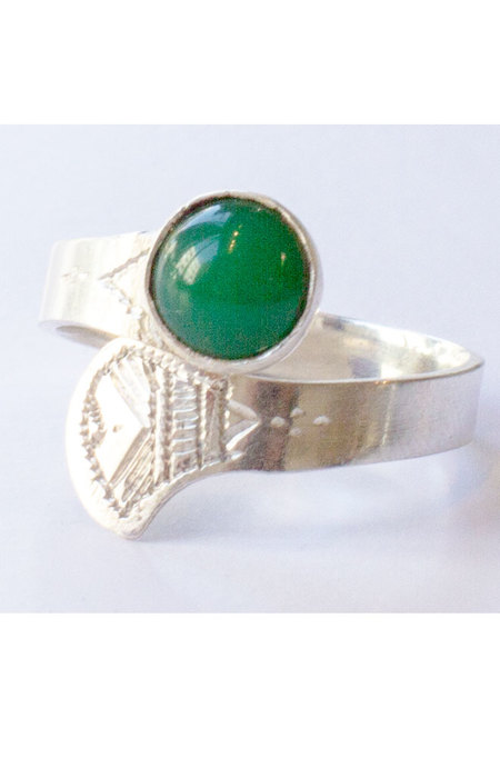 Tuareg Adjustable Ring - Green Agate Stone/Silver
