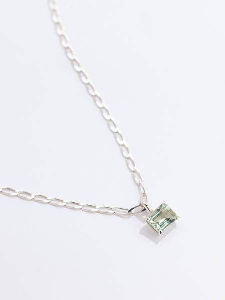 Faris Gem Necklace - Sterling Silver/Green Amethyst
