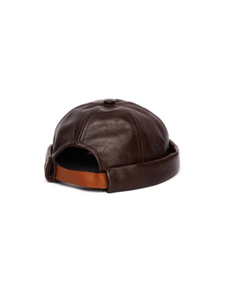 Junya Watanabe Beton Cire Brown Leather Beanie Hat