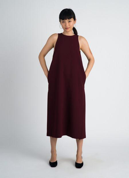 KAAREM Mango Pine Overlap Side Slit Midi Dress - Burgundy