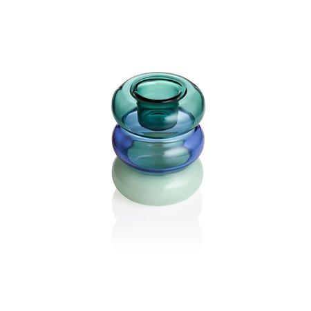 Maison Balzac Petite Pauline Candle Holder - Teal/Azure/Mint