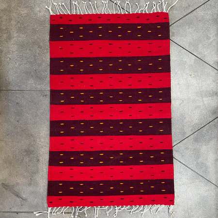Oaxacan Handwoven Wool Rug - Red Stripes