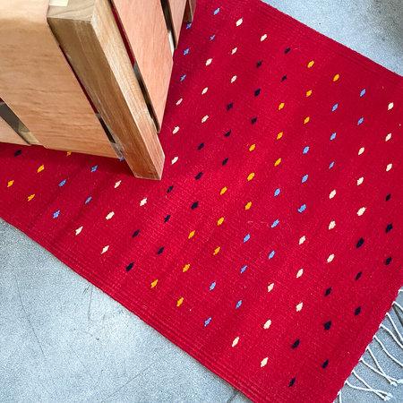 Oaxacan Handwoven Wool Rug - Red
