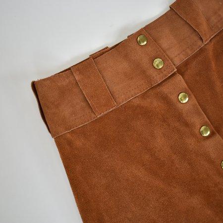 Vintage Suede Maxi Skirt - Rust