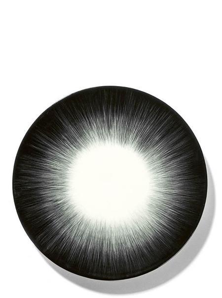 Ann Demeulemeester Set of 2 17.5 cm Var 5 plate - Off-White/Black