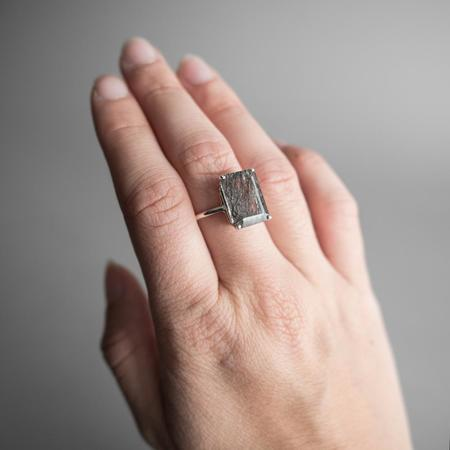 The BEA Line 12x10 Emerald Cut Tourmalinated Quartz Ring - Silver