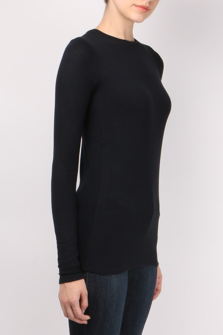 ATM Long Sleeve Rib Crew T-Shirt - Black
