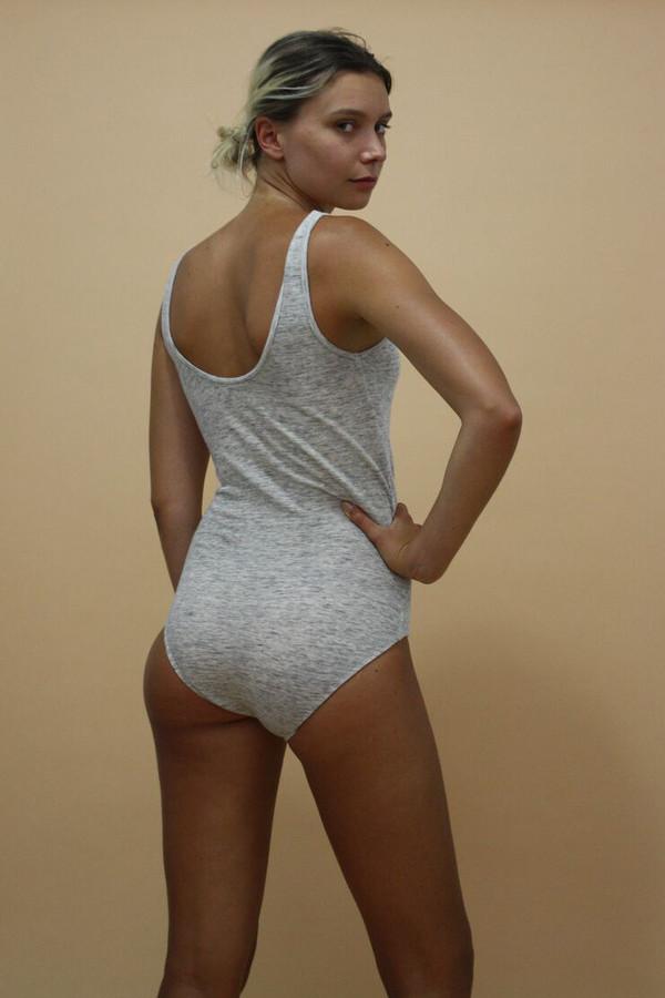 Calder Blake Bianca Bodysuit in Htr grey Jersey