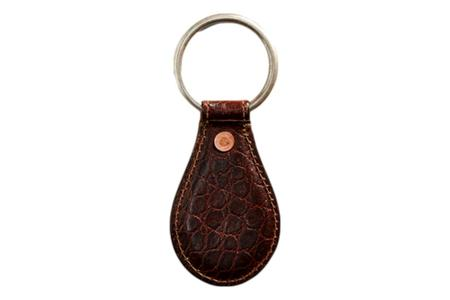 RRL Crocodile-Embossed Leather Key Fob - brown