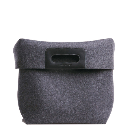 Graf Lantz Large Korb Tote Bin Charcoal / Black Leather