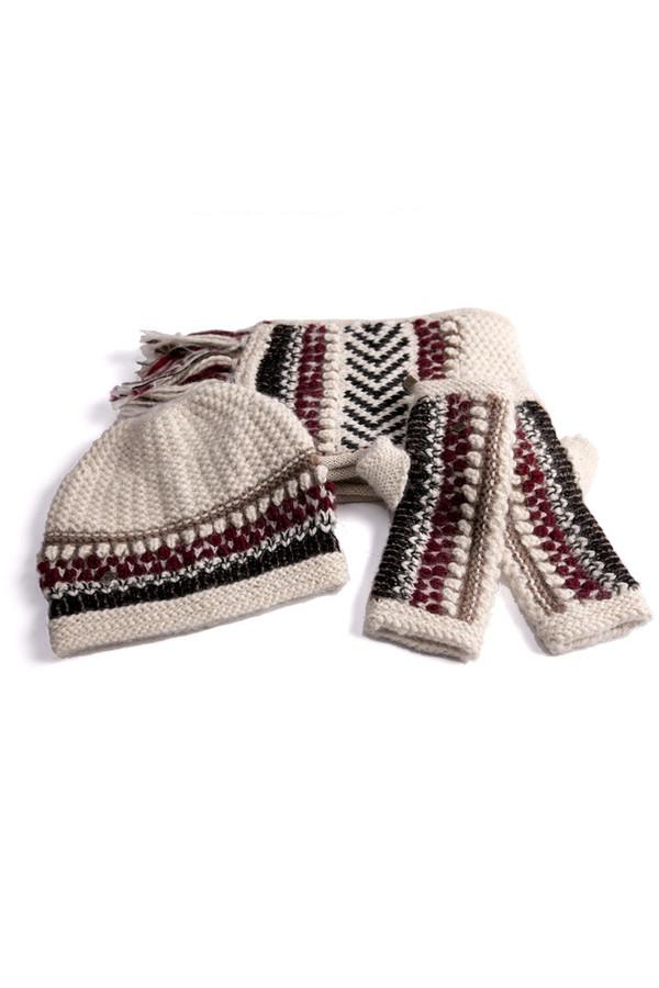 EMILIME Hola Fingerless Gloves White Burgundy