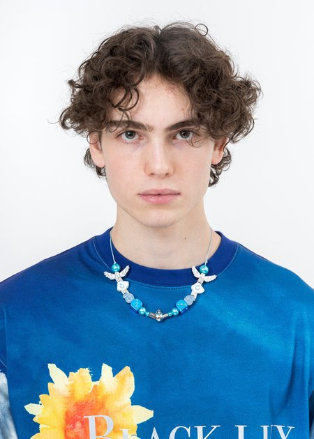 EVAE & Black Lux Smiley Cloud Necklace - Blue