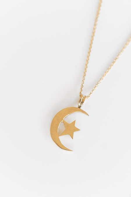 Vintage MOON AND STAR PENDANT - 14K yellow gold
