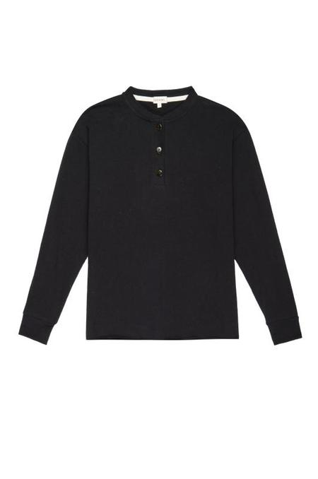 Donni Thermal Henley Long Sleeve Tee - Black