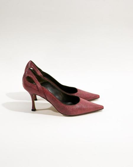 [Pre-loved] Brian Atwood Embossed Leather Pumps - Fuschia