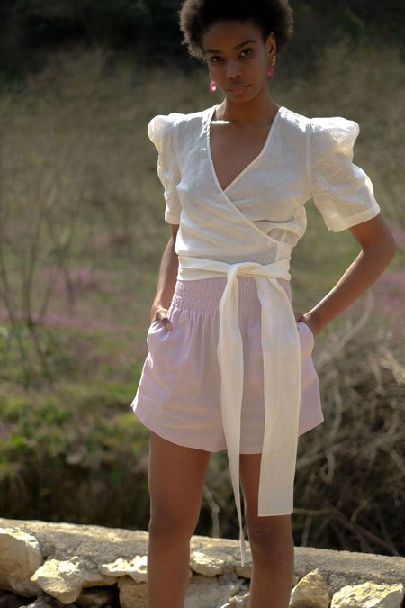 OhSevenDays Wednesday Puff Blouse - white