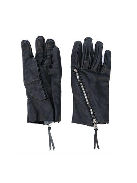 The Viridi-Anne Zip Detail Textured Gloves - Black