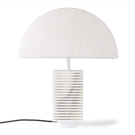 HKliving Fluted marble semi-circle shade table lamp - white