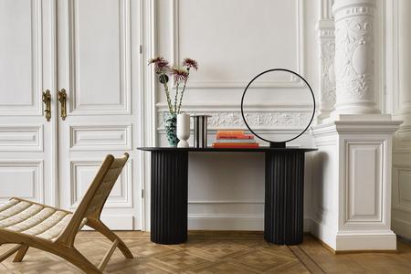 HKliving striped vase - Black/white