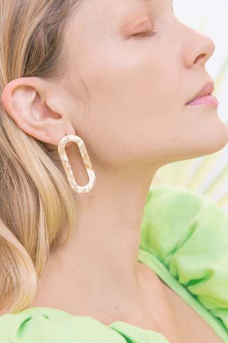 MATTER MATTERS Marbled Oval earrings - Sterling Silver/Earth
