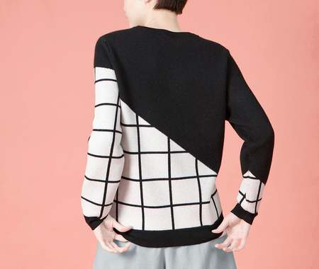 UNISEX MATTER MATTERS Grids Crew Neck Wool and Cashmere-Blend Pullover - BLACK