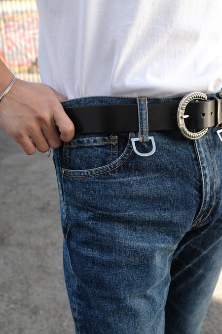 The Letters Silver Horse Shoe Buckle Leather Belt