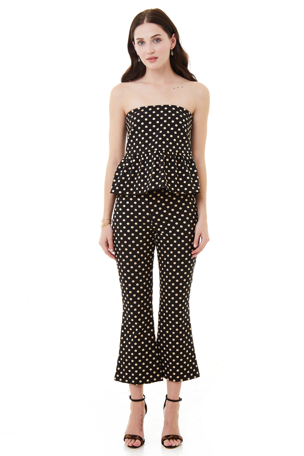 Nicole Miller Nina Cropped Flare Pant Black and Gold Polka Dot