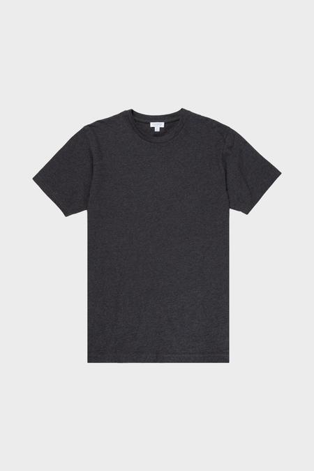Sunspel Riviera Crew Neck Tee Shirt - Charcoal Melange