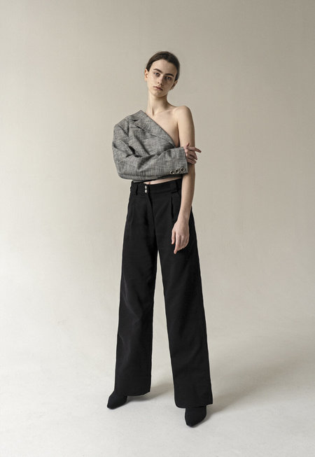 K M by L A N G E Half Moon Wide Leg Trousers - Black